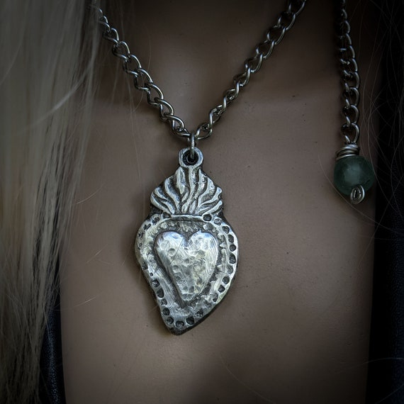 Sacred heart, milagro necklace | ex voto necklace, large handmade Milagros amulet necklace, sand cast pewter