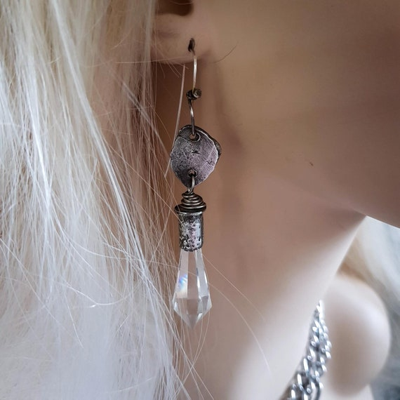 Ice drop crystal earrings | crystal drops in rustic silver setting