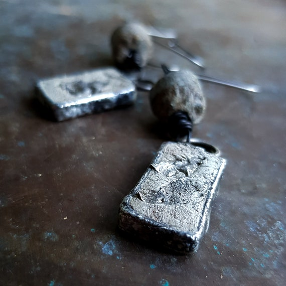 Soldered concrete and silver earrings with stone beads | rustic earrings