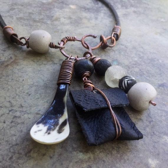 Amulet charm necklace with leather pouch, African bead stack | tribal amulet, talisman necklace