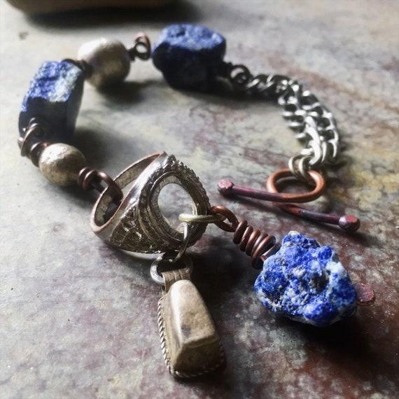 Lapis lazuli bracelet    natural lapis, raw stone bracelet, assemblage bracelet