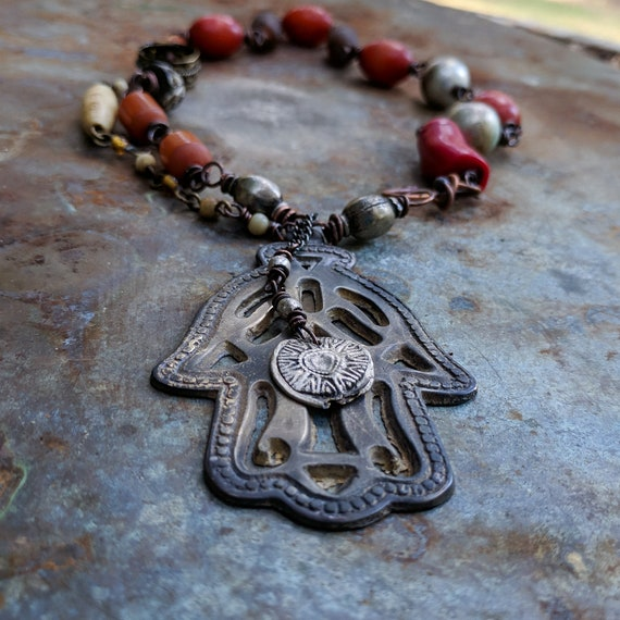 Hamsa hand necklace | large hamsa, red coral, faux amber, rustic necklace, amulet necklace, tribal necklace, hamsa bead necklace