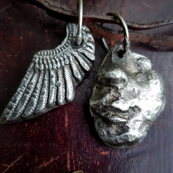 Face and angel wing necklace | silver face pendant, partial realistic face, angel wing necklace, sand cast lead-free pewter