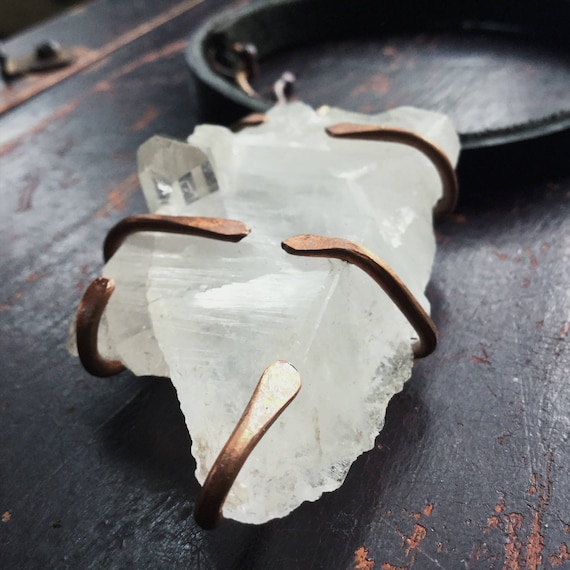 Boho prong set trigger quartz - large white quartz necklace