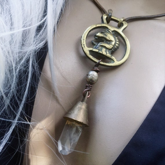 Brass horse head and raw quartz neclace | rustic brass choker, amulet necklace