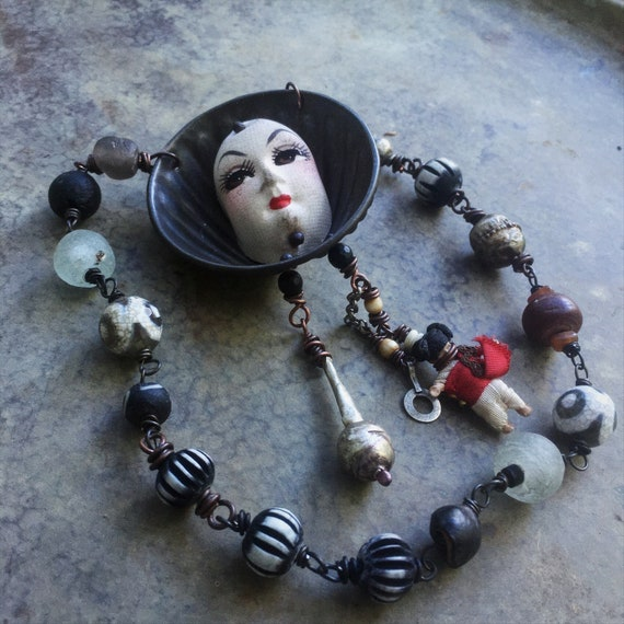 Rustic assemblage necklace | doll face jewelry, found object necklace, art to wear, assemblage jewelry,