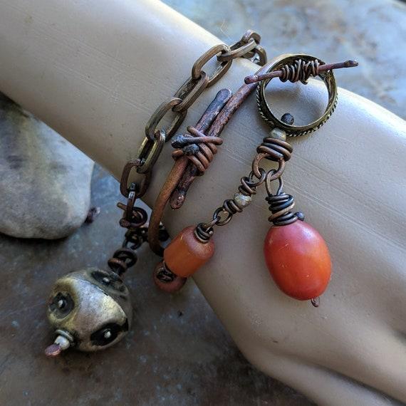 Rustic bracelet bangle set | copper bracelet with Ethiopian eye bead, hammered copper bangle, African amber bead bracelet, artisan jewelry