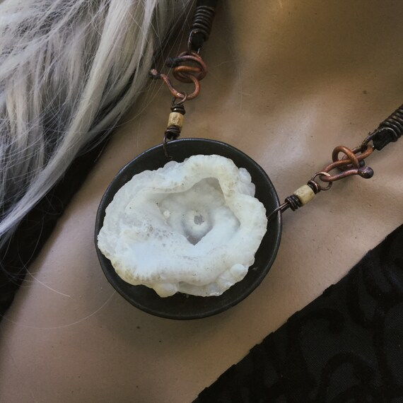 Organic raw stone necklace | unique statement artisan piece
