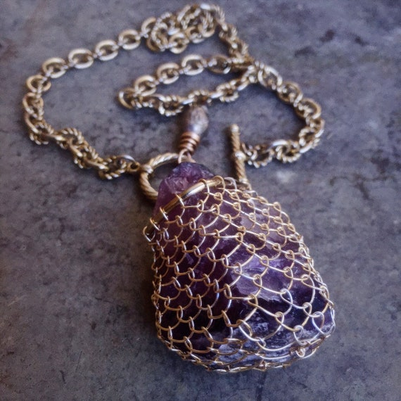 Boho gold wrapped amethyst  necklace - huge raw stone