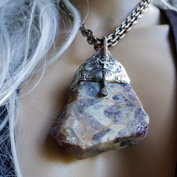 Chevron amethyst with silver ankh necklace | natural large amethyst, statement necklace, amulet necklace