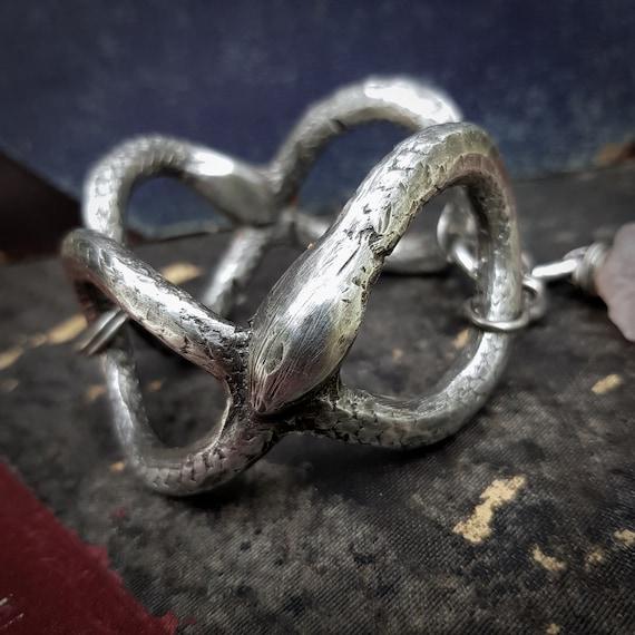Ouroboros infinity cuff bracelet | handmade silver pewter serpents with rose quartz, size medium/large