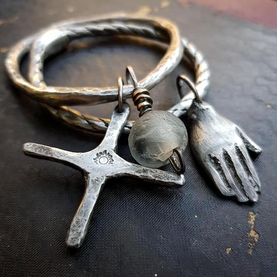 Artisan bangle set with sun/moon cross, hand charm and African glass bead | Handmade, one of a kind, Size Medium/Large