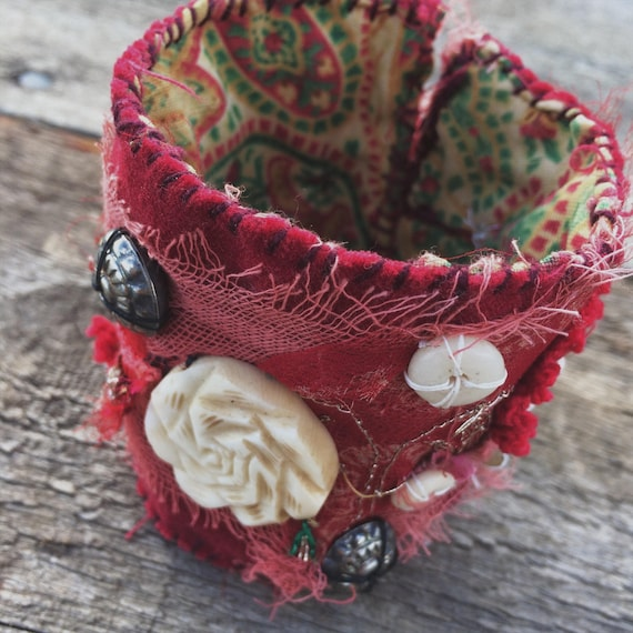 Boho red velvet tattered textile cuff embellished with bone and silver beads - hand sewn, unique