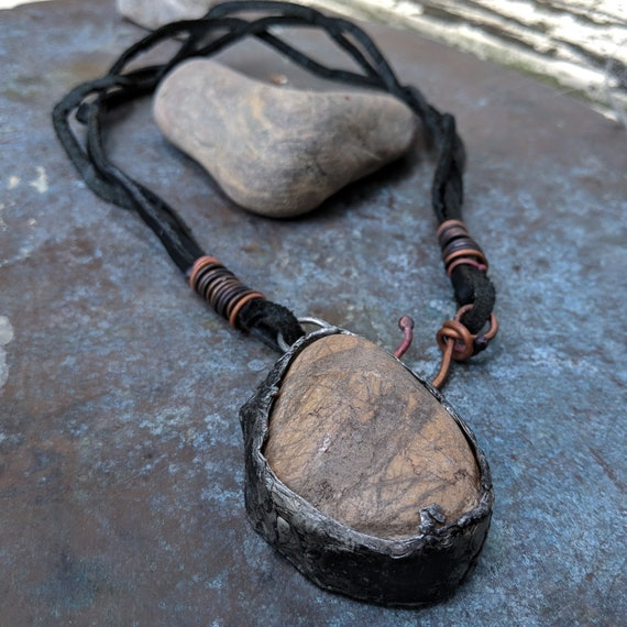 Natural stone pendant and leather necklace | natural jewelry, soldered stone, large stone pendant