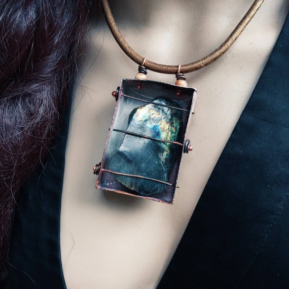 Northern Lights - Boxed labradorite, bronze leather - rustic boho labradorite necklace