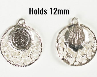 10 Pendant Settings for Cabochons - Holds 12mm - Silver Plated - 30x26mm-  Ships IMMEDIATELY from California - SC1515 d3acf2c22cd7