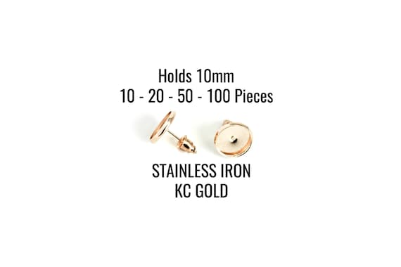 Holds 12mm Cabochons FREE Backs Scalloped Crowns Gold Earring Trays 50-100 Pieces EF390 10-20 Ships IMMEDIATELY