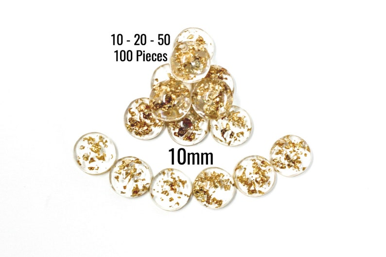 C720 Clear with Gold Foil 10-20 10mm 50-100 Pieces Gold Foil Cabochons Ships IMMEDIATELY from California