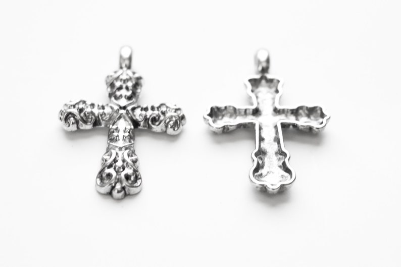SC1489a LARGE Ships IMMEDIATELY from California 53x34mm Perfect for Rosaries Antique Silver 5 Cross Pendants