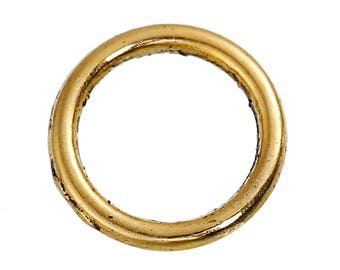 200 Jump Rings - BULK - Antique Gold - CLOSED - 9.5mm - 1.3mm Thick - 16 Gauge - Ships IMMEDIATELY from California - F432a