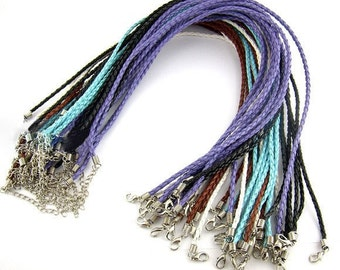 """4 Necklaces Assorted  - Waxed Weave Strings - with Clasp - 17"""" Long  -  Ship IMMEDIATELY  from California - CH371"""