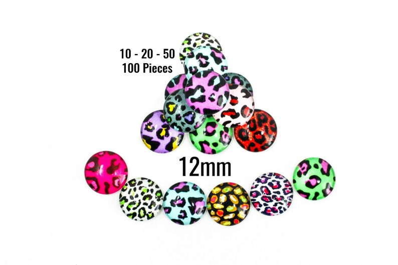 12mm Glass 50-100 Pieces Assorted Bright Colors C662 Ships IMMEDIATELY from California 10-20 Leopard Print Cabochons