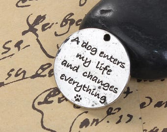20 Pet Memorial Charms - WHOLESALE - Antique Silver - A Dog Enters My Life and Changes Everything - 25mm - Ships IMMEDIATELY - SC1361a