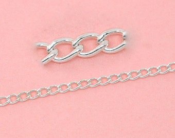 10M Silver Curb Chain - Links-Opened -  4x3mm - 32' - Ships IMMEDIATELY from California - CH404