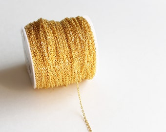 330ft Gold Cable Chain Spool - 3x2mm - 100M - Ships IMMEDIATELY from California - CH598