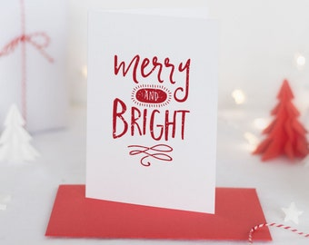 Merry & Bright Christmas Card Set of 5 with red envelopes