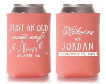 Custom Wedding Favor - Atlanta Skyline - Just an Old Sweet Song Can Coolers