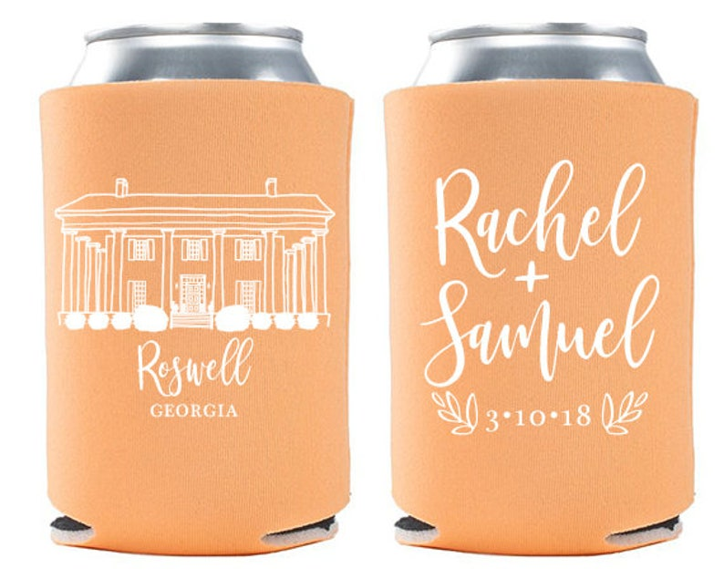 Custom Wedding Favor  Barrington Hall Can Cooler  Georgia image 0