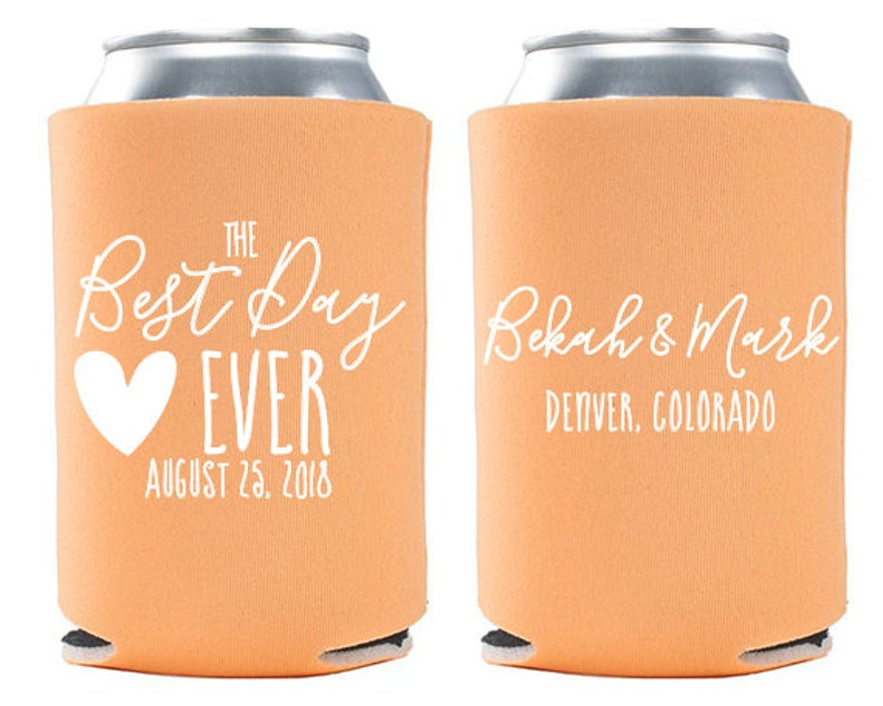 Custom Wedding Favor  The Best Day Ever Can Coolers  Wedding image 0