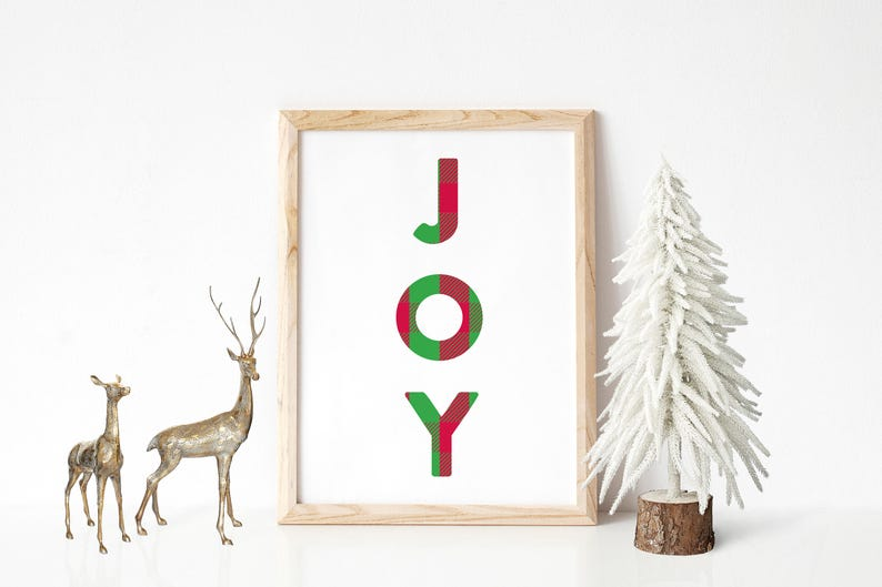 Joy Christmas Plaid Art Print 8.5x11  Christmas image 0