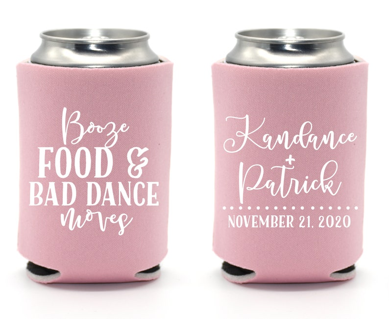 Custom Wedding Favor  Booze Food & Bad Dance Moves Can image 0