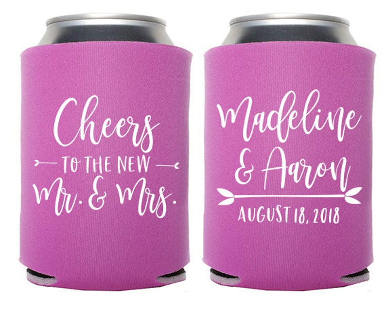 Custom Wedding Favor  Cheers to the New Mr. and Mrs. Can image 0