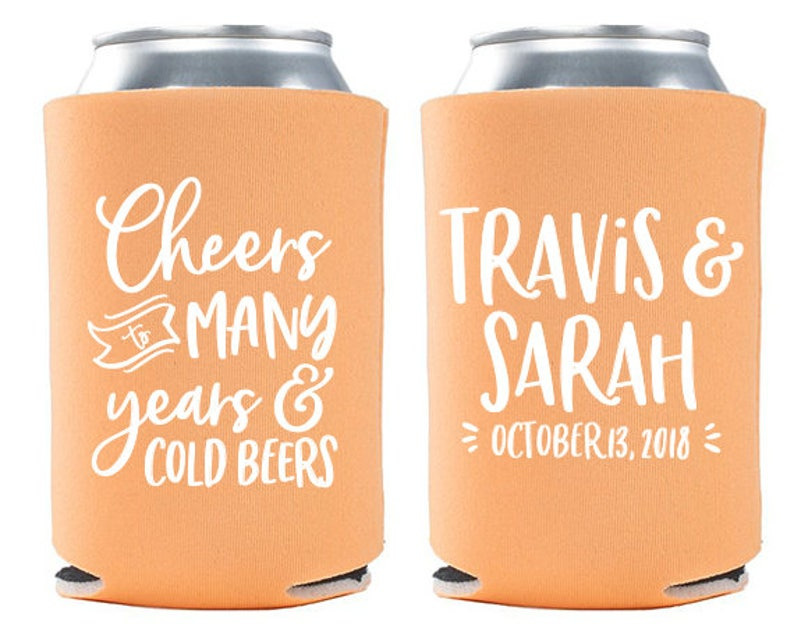 Custom Wedding Favor  Cheers to Many Years & Cold Beers Can image 0