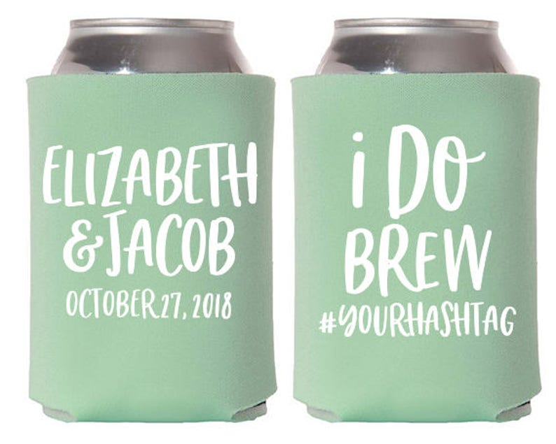 Custom Wedding Favor  I Do Brew Can Coolers image 0