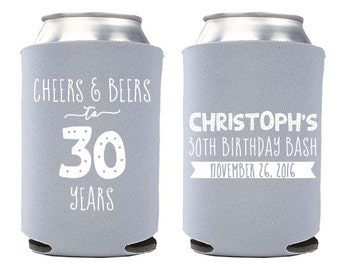 Custom Birthday Party Can Cooler - Cheers and Beers to 30 Years Birthday Can Coolers