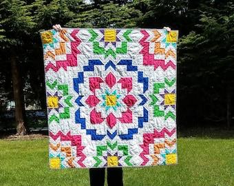 Rainbow Joyful Meadows Baby Quilt, Handmade, Crib bedding, Pink, Orange, Yellow, Green, Blue, Purple and white Cotton, toddler, lap
