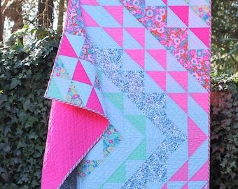 Handmade Throw Quilt, Lap Quilt, Bright Pink, Orange, Teal, Light Blue, blanket, Spring, Colorful