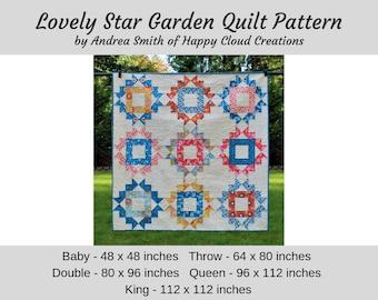 DIGITAL PDF Lovely Star Garden Quilt Pattern, Baby, Throw, Double, Queen, King size, digital, modern quilt