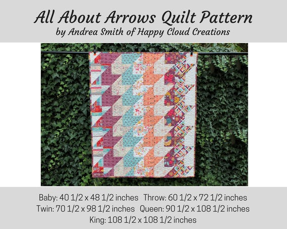 Pdf Pattern All About Arrows Quilt Baby Throw Twin Size Etsy