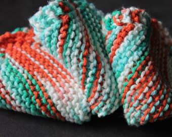 3 Hand Knitted Cotton Dish Cloths, Dish Rags, Orange, Green, Aqua, White, Sugar'n Cream Yarn,  Kitchen Wash Cloths, washcloths, dishcloths