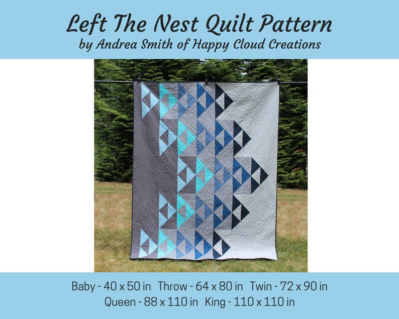 DIGITAL PDF Left the Nest Quilt Pattern Baby Throw Twin image 0
