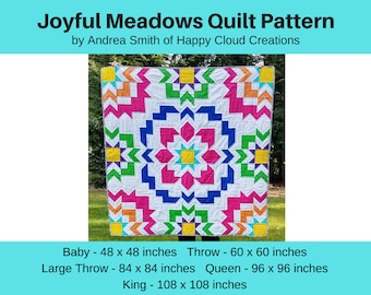 DIGITAL PDF Joyful Meadows Quilt Pattern, Baby, Throw, Large Throw, Queen, King size, digital, modern quilt, flying geese