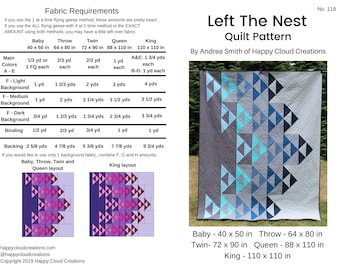 DIGITAL PDF Left the Nest Quilt Pattern, Baby, Throw, Twin, Queen, King size, digital, modern quilt, flying geese