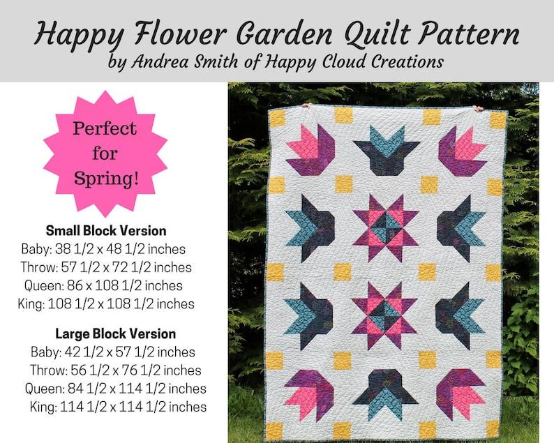 DIGITAL PDF Happy Flower Garden Quilt Pattern Baby image 0