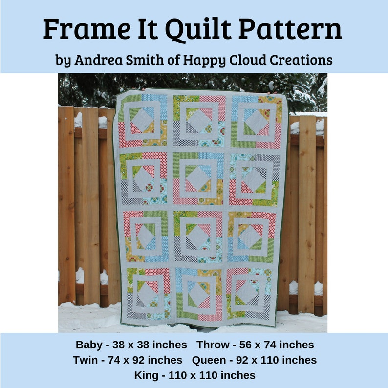 DIGITAL PDF Frame It Quilt Pattern Baby Throw Twin Queen image 0