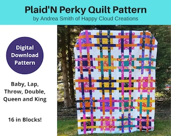 DIGITAL PDF Plaid'N Perky Quilt Pattern, Baby, Lap, Throw, Double, Queen, King size, digital, modern quilt, woven